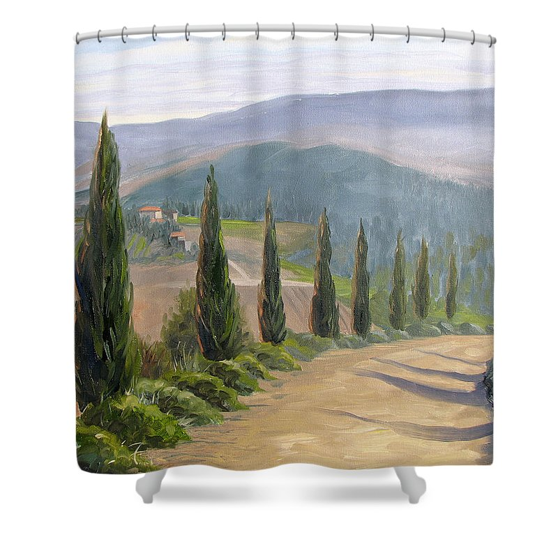 Landscape Shower Curtain featuring the painting Tuscany Road by Jay Johnson