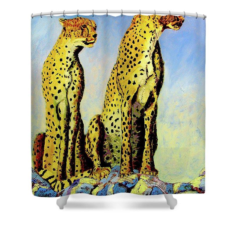 Cheetahs Shower Curtain featuring the painting Two Cheetahs by Stan Hamilton
