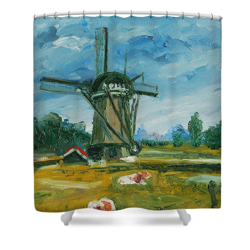 Farm Shower Curtain featuring the painting Two Cows by Rick Nederlof