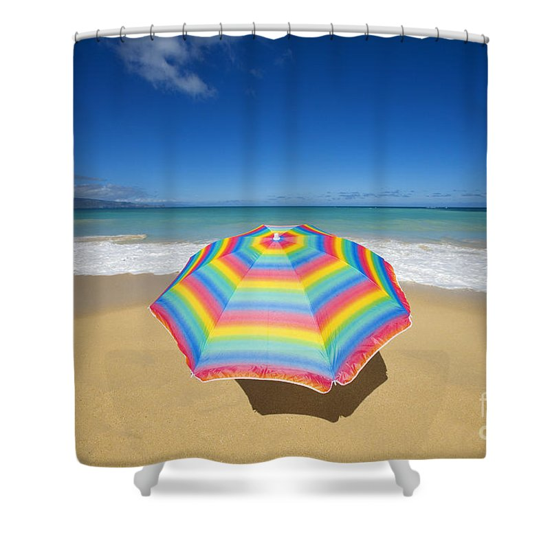 Afternoon Shower Curtain featuring the photograph Umbrella On Beach by Ron Dahlquist - Printscapes