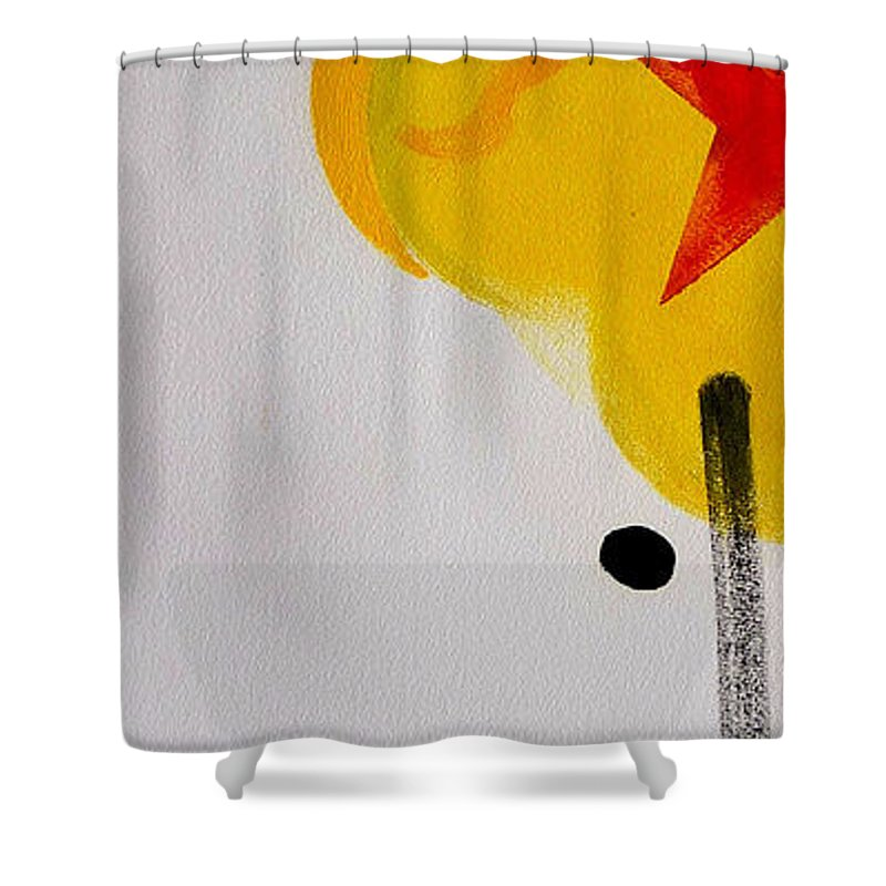 Drawing Shower Curtain featuring the painting UN by Charles Stuart