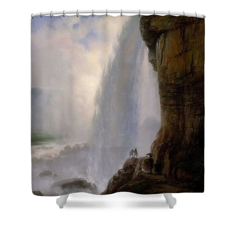 Underneath Niagara Falls Shower Curtain featuring the painting Underneath Niagara Falls by MotionAge Designs