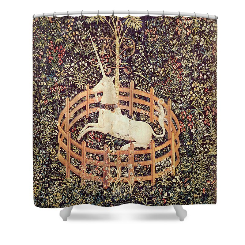 Unicorn Tapestry Shower Curtain featuring the photograph Unicorn Tapestry by Lionel F Stevenson