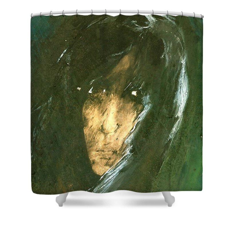Energy Shower Curtain featuring the painting Unknow by Wojtek Kowalski