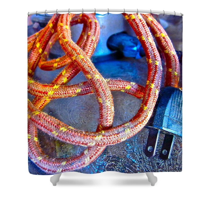 Vintage Cord Shower Curtain featuring the photograph Unplugged by Gwyn Newcombe