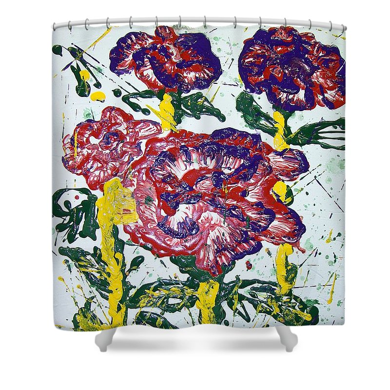 Abstract Painting Shower Curtain featuring the painting Untitled by J R Seymour