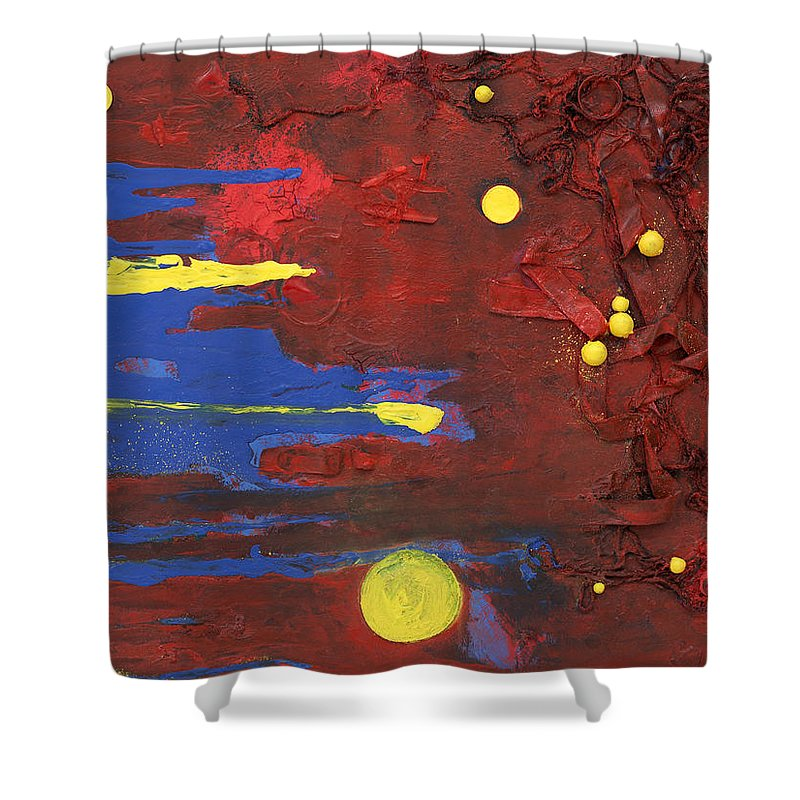 Red Shower Curtain featuring the mixed media Untitled by Jaime Becker