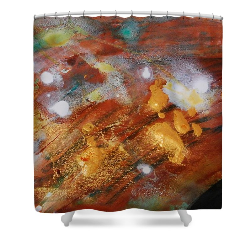 Green Shower Curtain featuring the painting Untitled by Lauren Luna