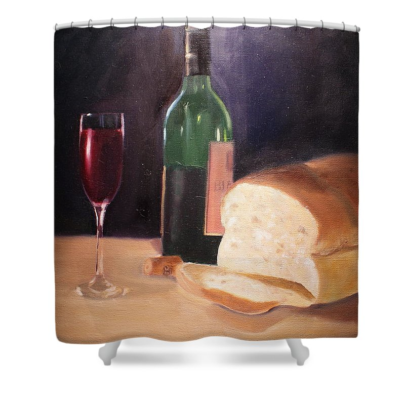 Wine Shower Curtain featuring the painting Untitled by Toni Berry