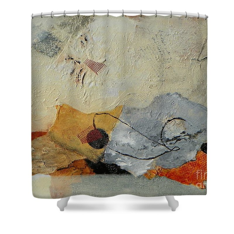 Abstract Expressionism Shower Curtain featuring the painting Unwrapped by Donna Frost