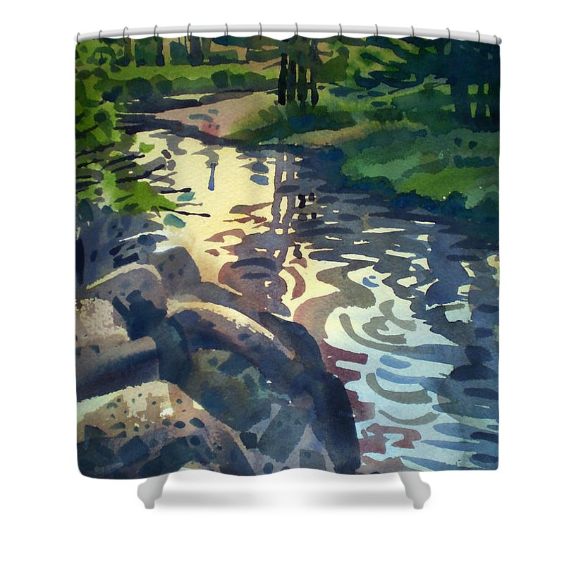 Stream Shower Curtain featuring the painting Up With The Fishes by Donald Maier