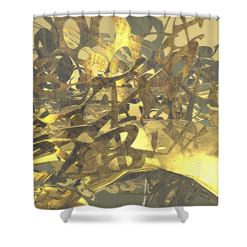 Scott Piers Shower Curtain featuring the painting Urban Gold by Scott Piers