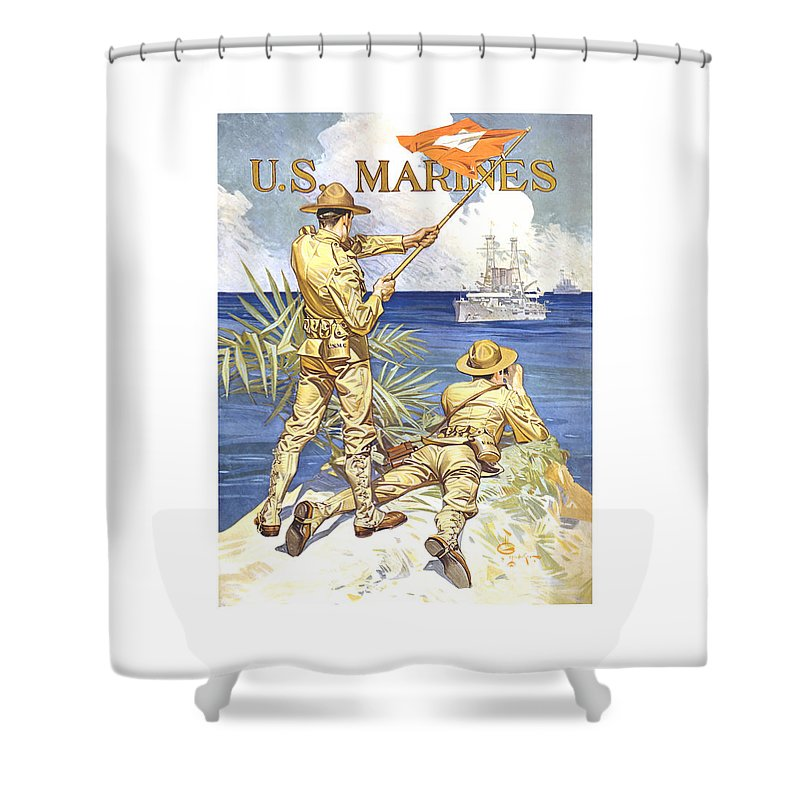 Marines Shower Curtain featuring the painting Us Marines - Ww1 by War Is Hell Store
