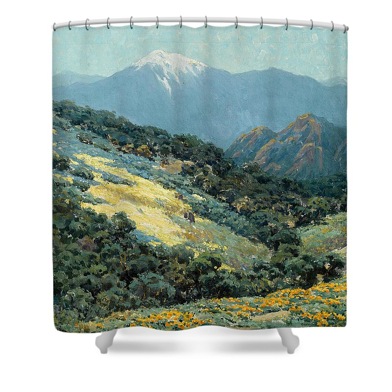 Granville Redmond - Valley Splendor Shower Curtain featuring the painting Valley Splendor by MotionAge Designs