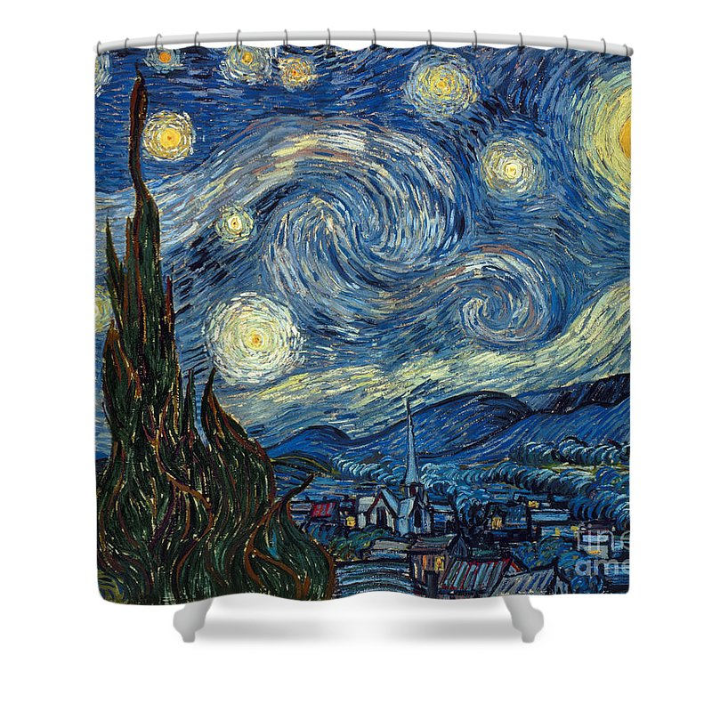 1889 Shower Curtain featuring the painting Van Gogh Starry Night by Granger