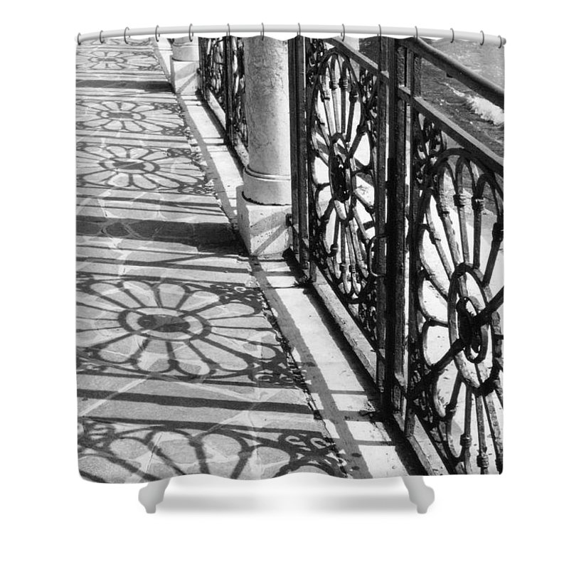 Fence Shower Curtain featuring the photograph Venice Fence Shadows by Lauri Novak