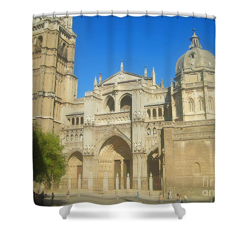 Cathedral Shower Curtain featuring the photograph View Of Toledo Cathedral In Sunny Day, Spain. by Alexey Larionov