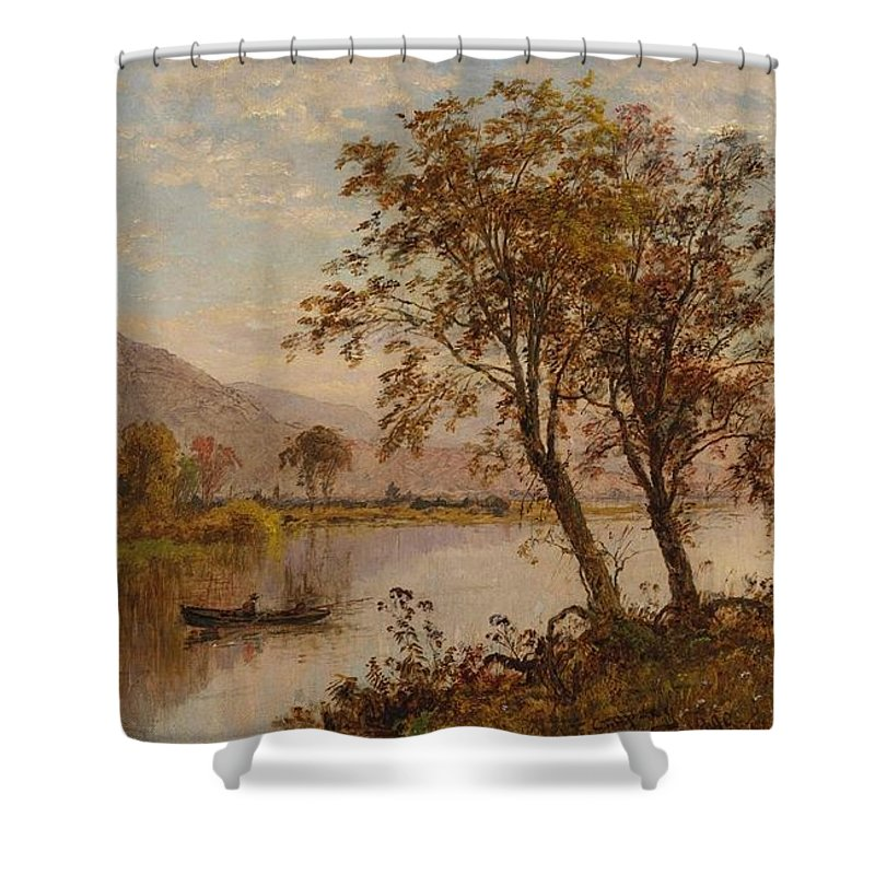 Jasper Francis Cropsey American 1823 - 1900 View On The Hudson River Shower Curtain featuring the painting View On The Hudson River by Jasper Francis