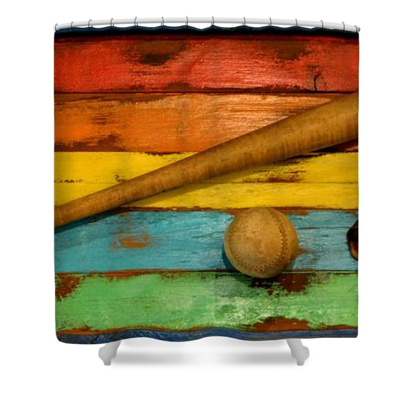 Game Shower Curtain featuring the photograph Vintage Baseball Display by Richard Jenkins