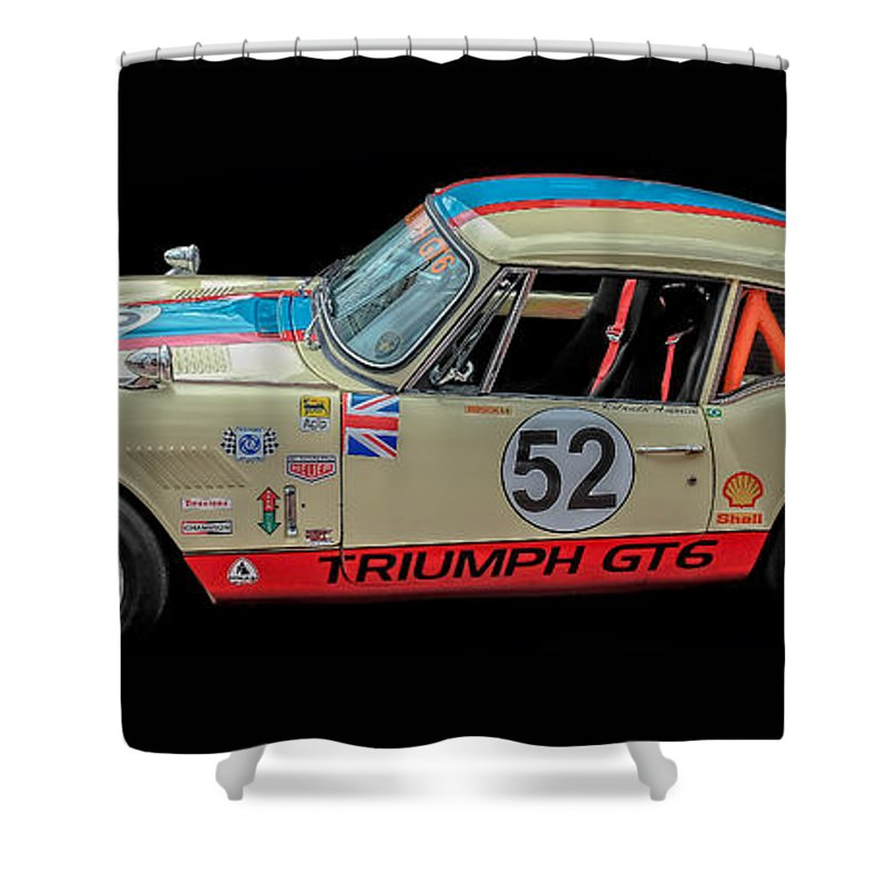 Vintage Shower Curtain Featuring The Photograph Triumph Gt6 Plus Race Car By Edward Fielding