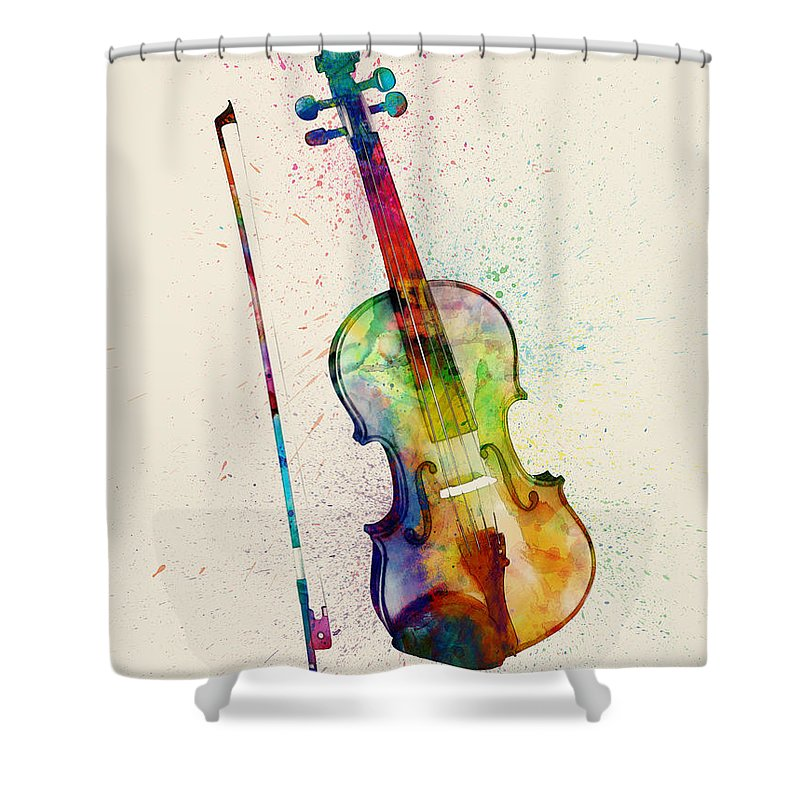 Musical Instrument Shower Curtain featuring the digital art Violin Abstract Watercolor by Michael Tompsett