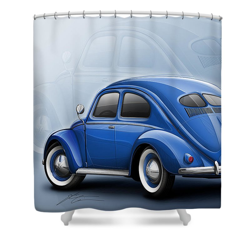 Volkswagen Beetle Vw 1948 Blue Shower Curtain Featuring The Digital Art