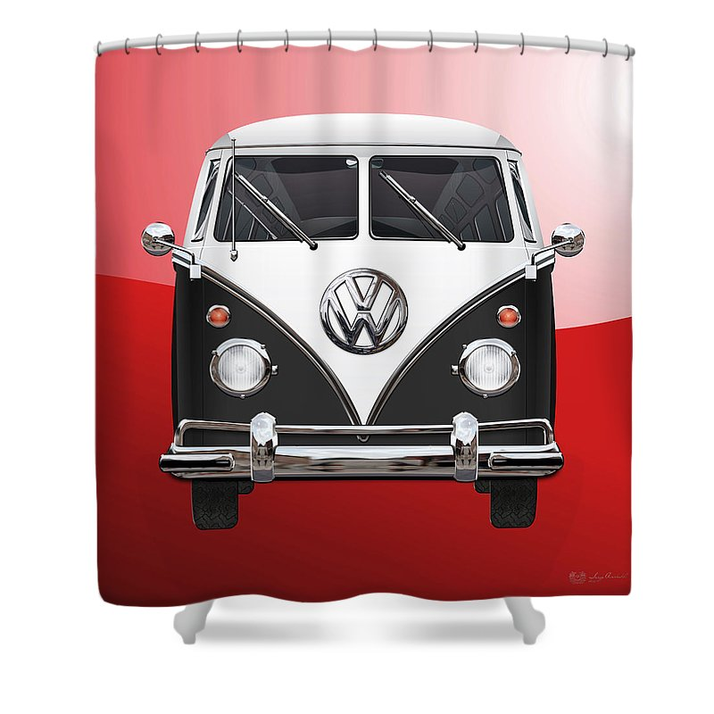 'volkswagen Type 2' Collection By Serge Averbukh Shower Curtain featuring the photograph Volkswagen Type 2 - Black And White Volkswagen T 1 Samba Bus On Red by Serge Averbukh