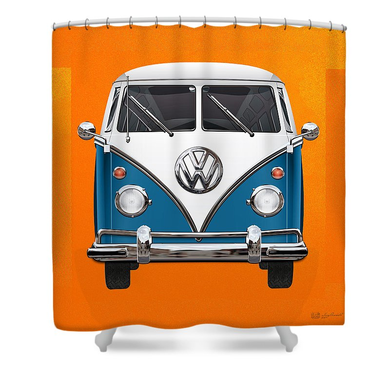 'volkswagen Type 2' Collection By Serge Averbukh Shower Curtain featuring the photograph Volkswagen Type 2 - Blue and White Volkswagen T 1 Samba Bus over Orange Canvas by Serge Averbukh