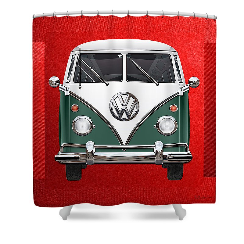 'volkswagen Type 2' Collection By Serge Averbukh Shower Curtain featuring the photograph Volkswagen Type 2 - Green And White Volkswagen T 1 Samba Bus Over Red Canvas by Serge Averbukh
