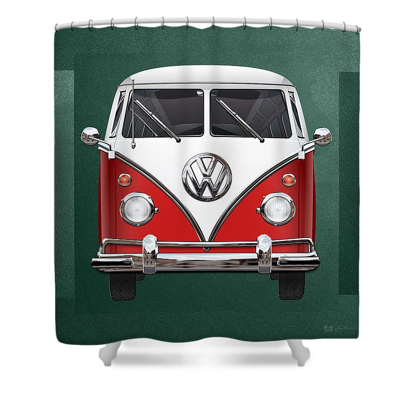 'volkswagen Type 2' Collection By Serge Averbukh Shower Curtain featuring the photograph Volkswagen Type 2 - Red And White Volkswagen T 1 Samba Bus Over Green Canvas by Serge Averbukh