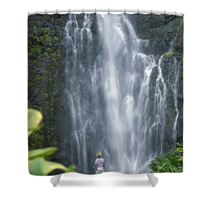 Afternoon Shower Curtain featuring the photograph Wailua Falls by Ron Dahlquist - Printscapes
