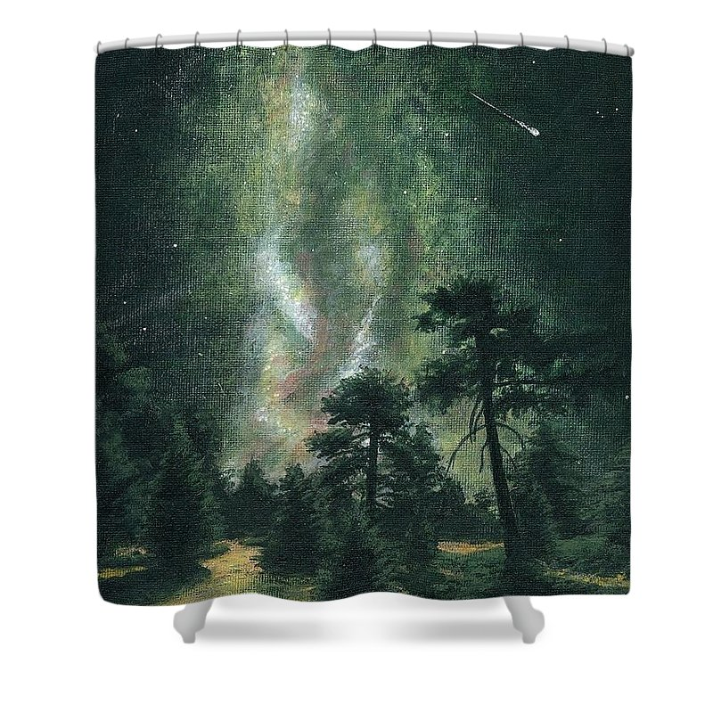 Landscape Shower Curtain featuring the painting Walking After Midnight by Dave Herrling