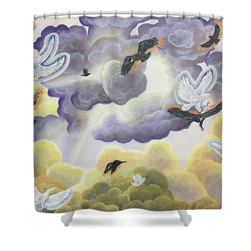 Clouds Shower Curtain featuring the painting War In Heaven by Robert DeBole