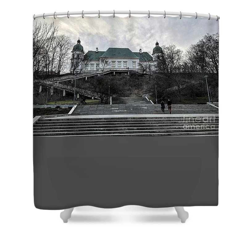Shower Curtain featuring the photograph Warsaw, Poland by Christian Smochko