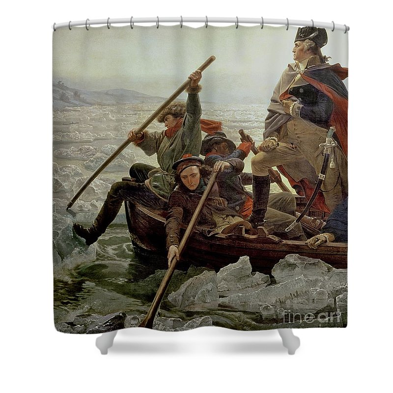 Washington Crossing The Delaware River Shower Curtain featuring the painting Washington Crossing The Delaware River by Emanuel Gottlieb Leutze