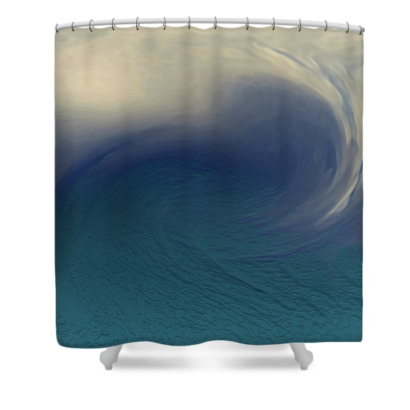 Abstract Wave Blue White Shower Curtain featuring the digital art Water And Clouds by Linda Sannuti