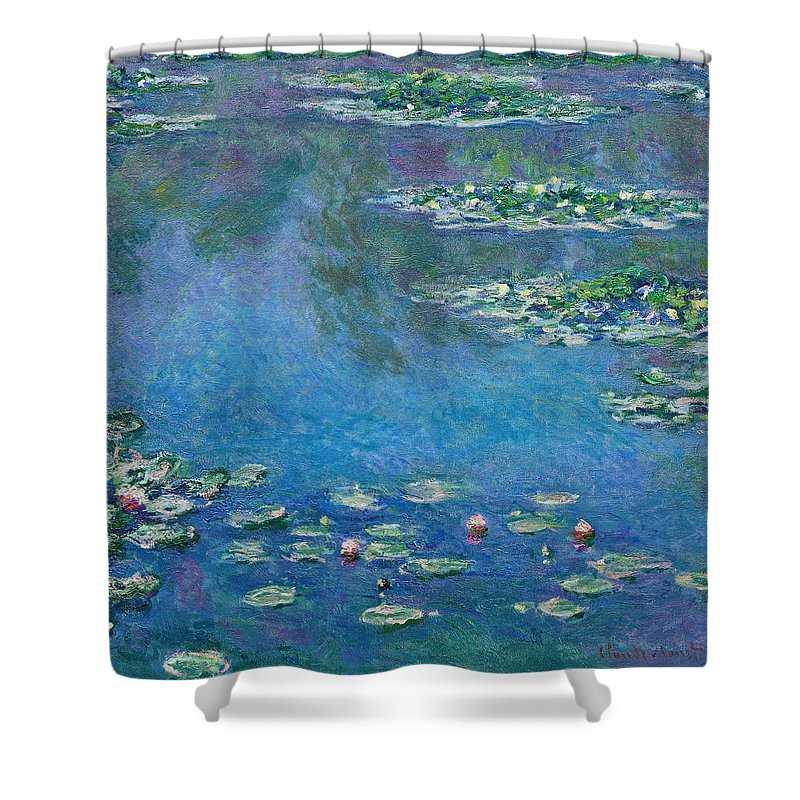 Blue Shower Curtain featuring the painting Water Lilies 1906 by Claude Monet