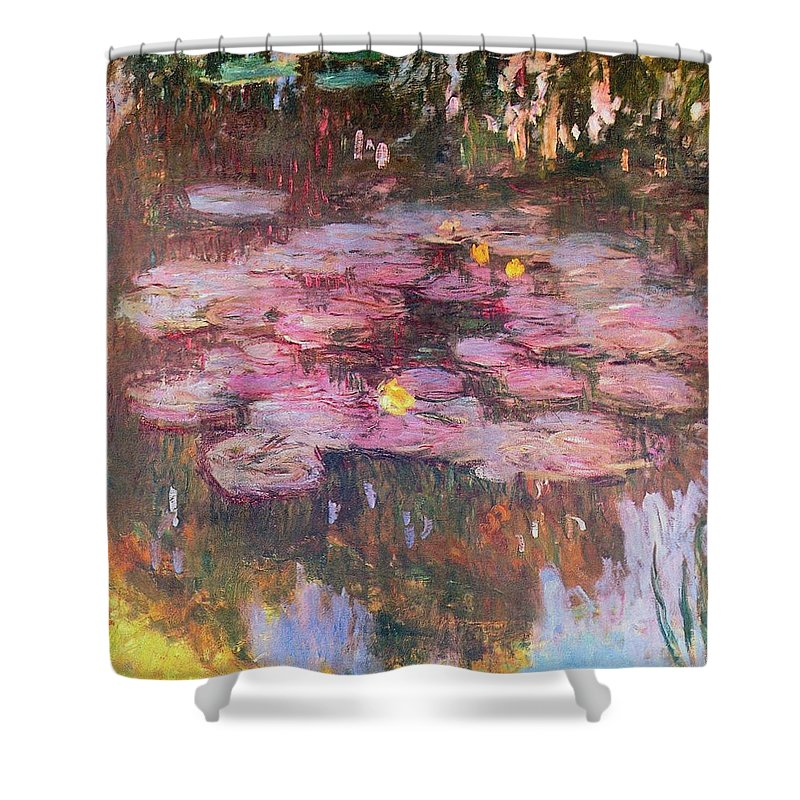 Water Shower Curtain featuring the painting Water Lilies 1917 by Claude Monet