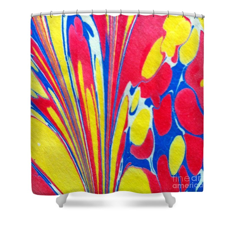 Abstract Shower Curtain featuring the painting Water Marbling Art, Ebru by Dilan C