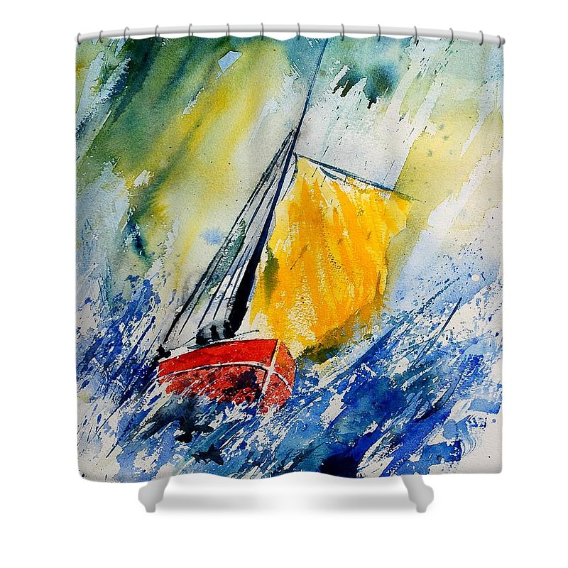 Sea Shower Curtain featuring the painting Watercolor 280308 by Pol Ledent