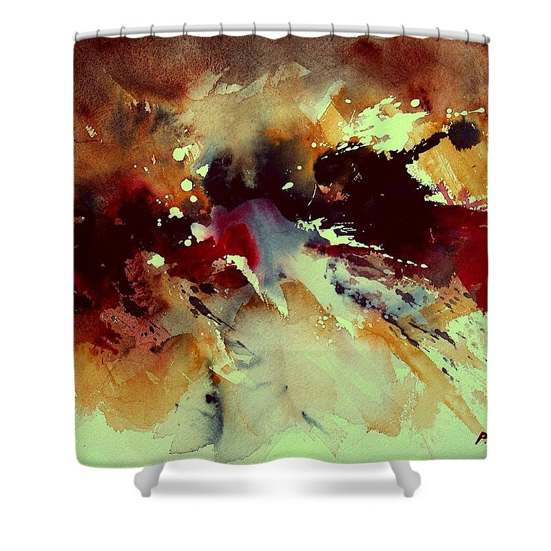 Abstract Shower Curtain featuring the painting Watercolor 301107 by Pol Ledent