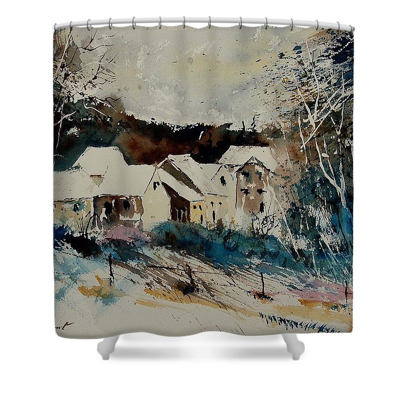 Winter Shower Curtain featuring the painting Watercolor 902040 by Pol Ledent