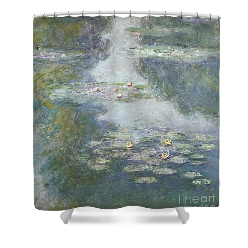 Pads Shower Curtain featuring the painting Waterlilies by Claude Monet