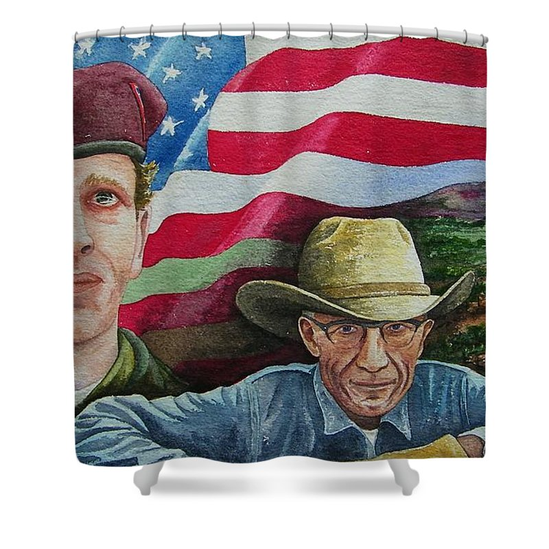 Soldier Shower Curtain featuring the painting We Hold These Truths by Gale Cochran-Smith