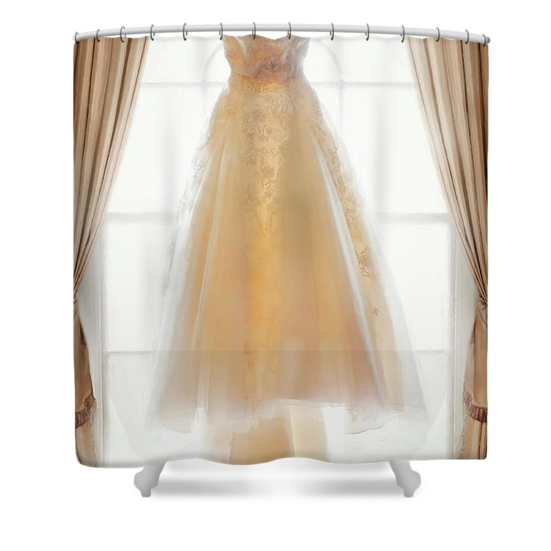 Wedding Dress Shower Curtain Featuring The Photograph In Window By Lee Avison