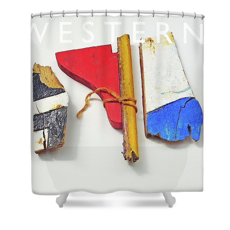 Sculpture Shower Curtain featuring the painting Western by Charles Stuart