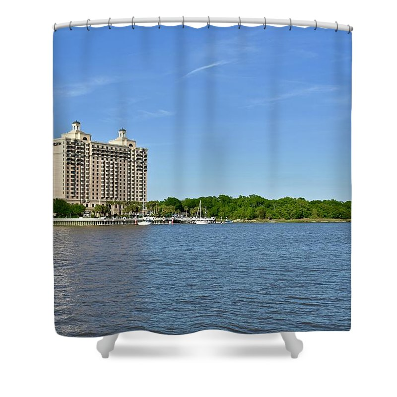 Historic Savannah Shower Curtain featuring the photograph Westin Hotel On The Savannah Waterfront by Jeramey Lende