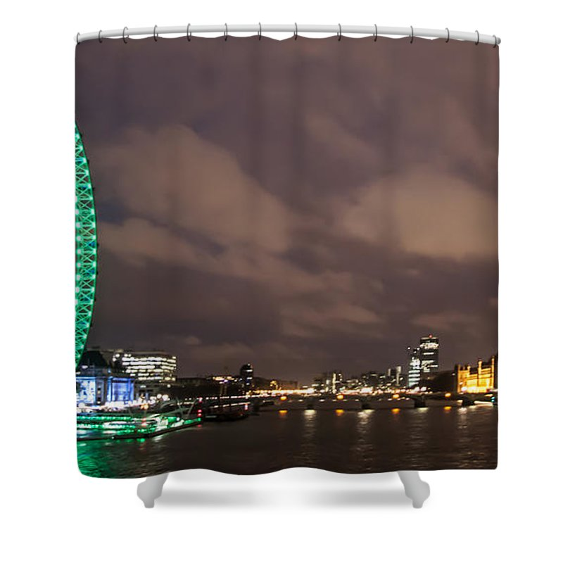 Millennium Wheel Shower Curtain featuring the photograph Westminster And The London Eye by Dawn OConnor