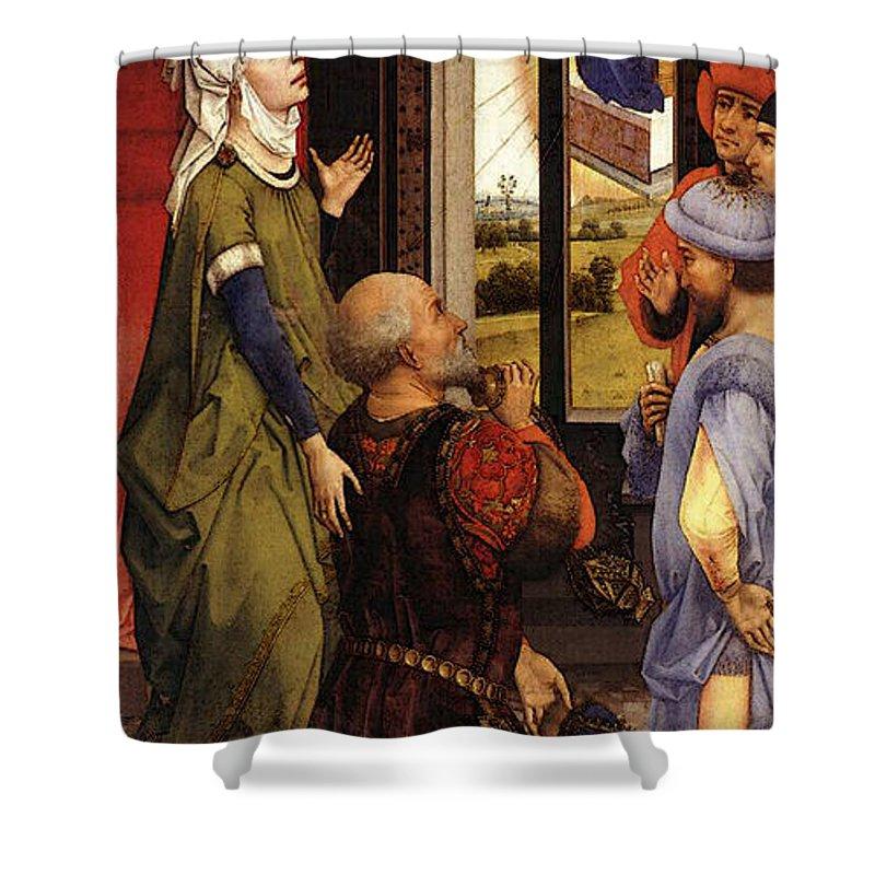 Weyden Bladelin Triptych  Shower Curtain featuring the digital art Weyden Bladelin Triptych  by PixBreak Art