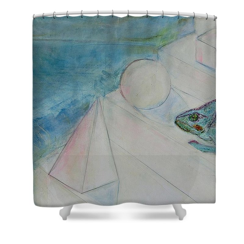 Symbolism Shower Curtain featuring the painting When Time Began by Michela Akers